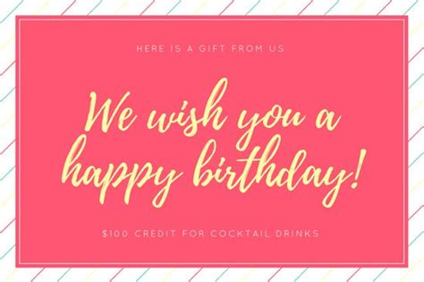 pink birthday gift certificate templates  canva