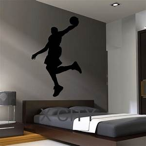 Black Wall Decal Basketball Dunk Silhouette For Bedroom ...