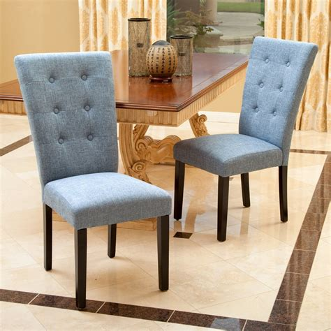 leighton blue denim fabric dining chairs set of 2 gdf