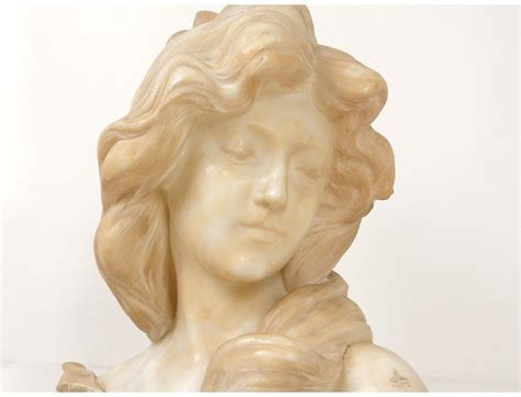 Superb alabaster sculpture bust young woman A.Cipriani Art
