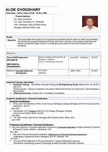 cv resume alok choudhary diploma mechanical engineering With sample resume for diploma in mechanical engineering