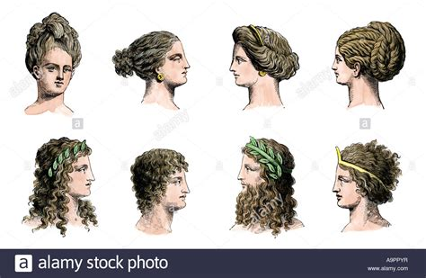 ancient greek hairstyles  women top row  men bottom