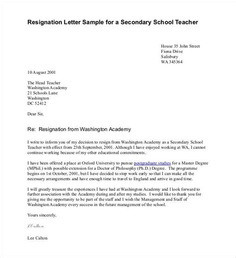 teacher resignation letter templates