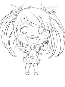 Anime Chibi Girl Line Art