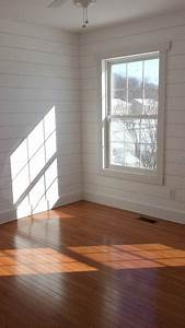 Faux, Shiplap, Walls, With, Simple, Window, Trim, And, Wood, Floors, Thinking, About, This, For, The, Living