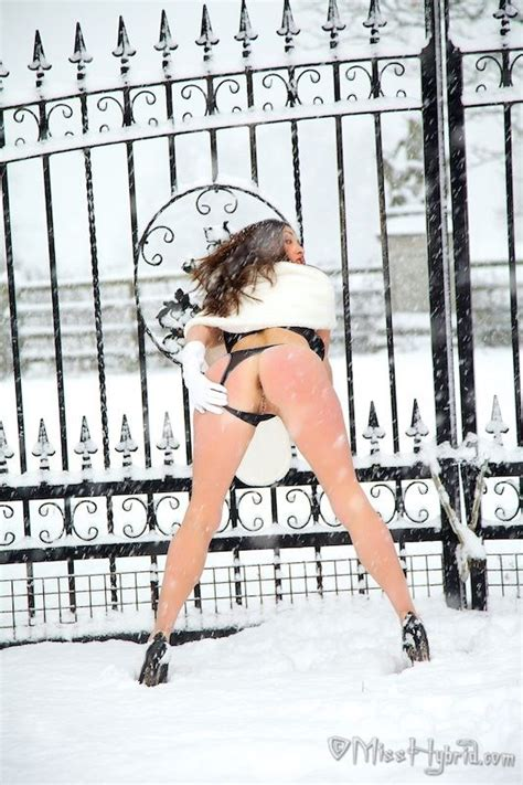 Busty Miss Hybrid Poses Half Naked In The Cold Snow