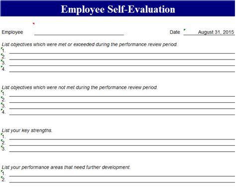employee  evaluation template  excel templates