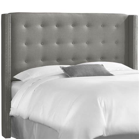 Grey Tufted Bed by Skyline Tufted Wingback Panel Headboard In Gray 53xnb