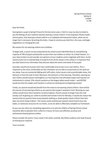 Persuasive letter writing example by Rachael44 - Teaching