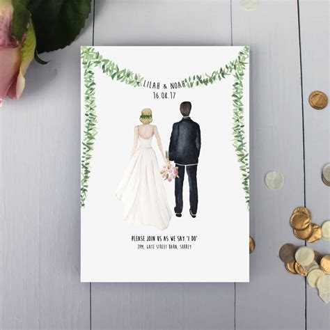 personalised couple illustration wedding invitation by by