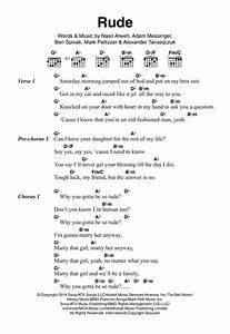Rude sheet music by MAGIC! (Lyrics & Chords – 121117)