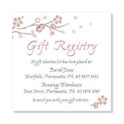wedding gift registry bridal shower gift registry wedding invitation sle