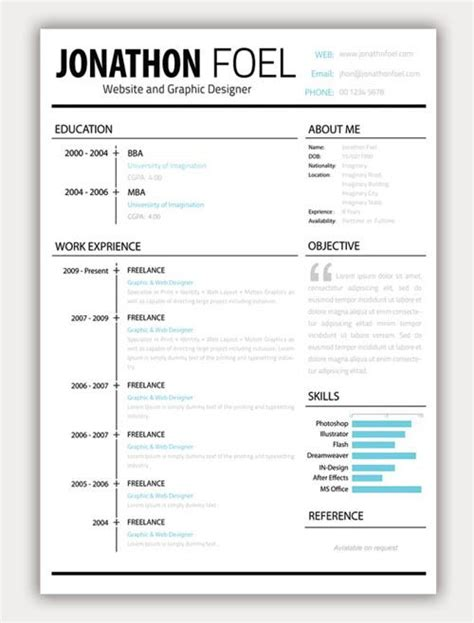 creative resume like the layout objective or about me