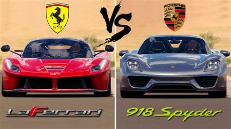 It's the fastest ferrari ever, versus porsche's hybrid hypercar. Ferrari LaFerrari vs Porsche 918 Spyder | Forza Horizon 3 - YouTube
