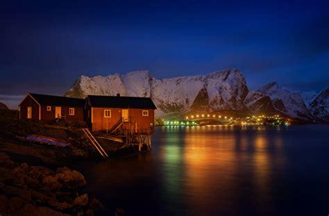 hintergrundbilder lofoten norwegen reine gebirge bucht