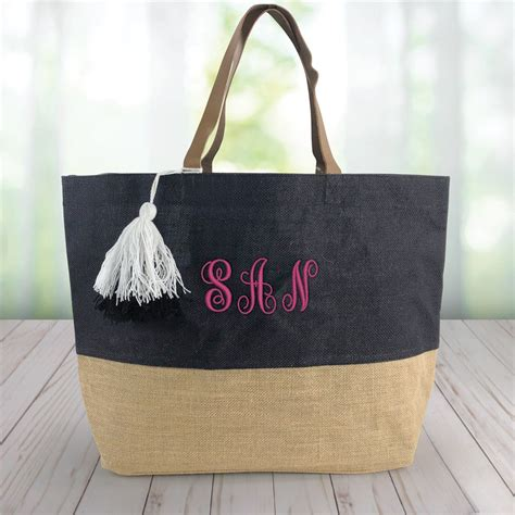 embroidered initials color block jute tote bag giftsforyounow