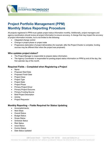 project management status report templates