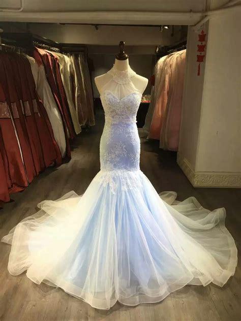 mermaid halter neckline sky blue lace wedding dress