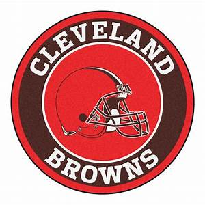 """Cleveland Browns Logo Roundel Mat - 27"""" Round Area Rug"""