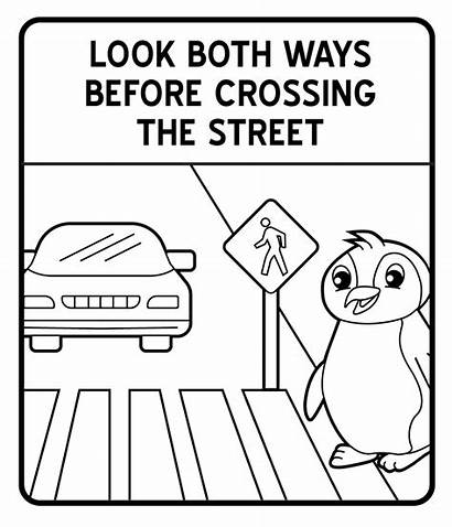 Coloring Signs Traffic Road Street Pages Safety