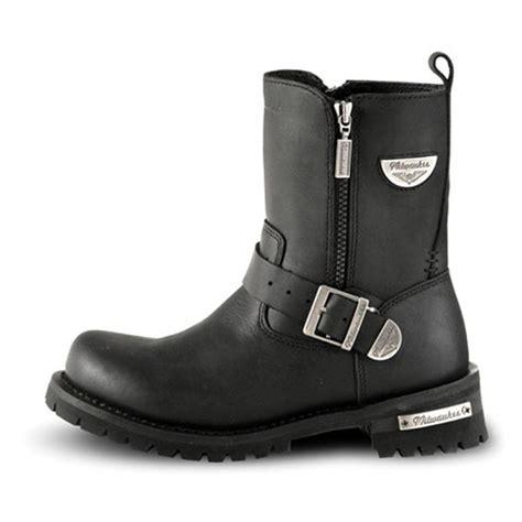 mens biker shoes men 39 s milwaukee afterburner leather zip boots black