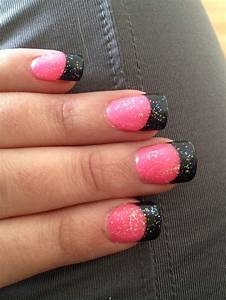 Hot pink nails with black tips and iridescent sparkles ...