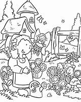 Coloring Garden Pages Flower Print sketch template