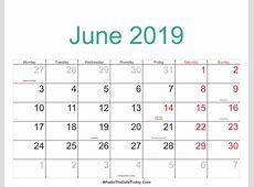 June 2019 Calendar Cute calendar month printable