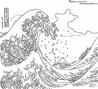Kanagawa Hokusai Wave Coloring Supercoloring Waves Famous
