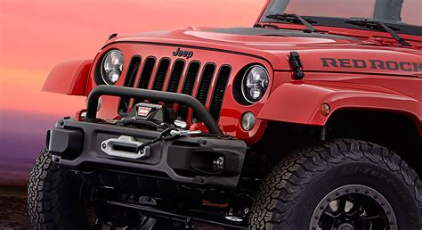 jeep cars red jeep and mopar partner to make wrangler red rock concept