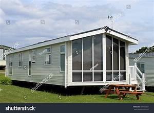 Exterior Modern Caravan Trailer Mobile Home Stock Photo ...