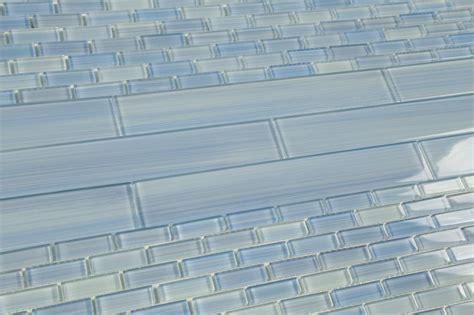 light blue mix 2x12 subway glass tile for kitchen