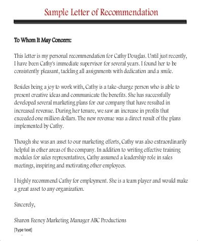 sample professional letter  recommendation  examples