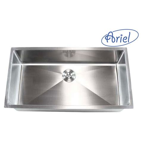 36 undermount stainless steel kitchen sink ariel 36 inch stainless steel undermount single bowl 8985