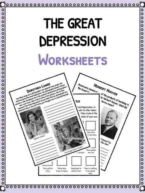 great depression facts information worksheets  kids
