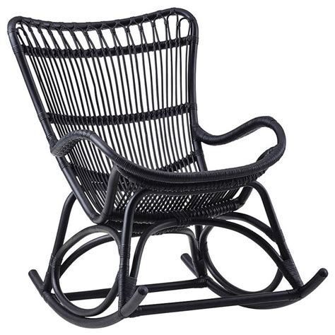 monet indoor rattan rocking chair matte black