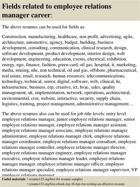 top 8 employee relations manager resume sles