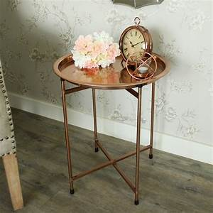 round metal copper folding coffee table butler39s tray With round metal tray coffee table