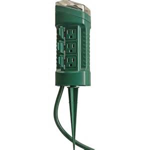 woods 13547 6 outlet outdoor power stake w mechanical timer string light power cords