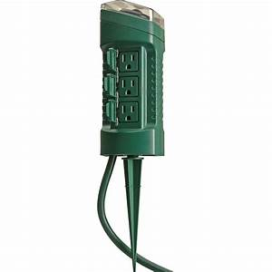woods 13547 6 outlet outdoor power stake w mechanical With outdoor lighting timers how to set