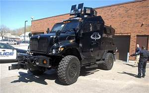Armored vehicle built for war patrols streets of ...
