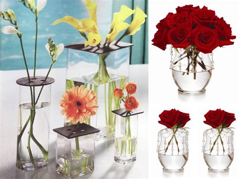 roses centerpieces ideas chic diy wedding flower centerpiece red roses clear vases onewed com