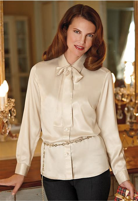 the blouse satin blouse with tie silk pintuck blouse