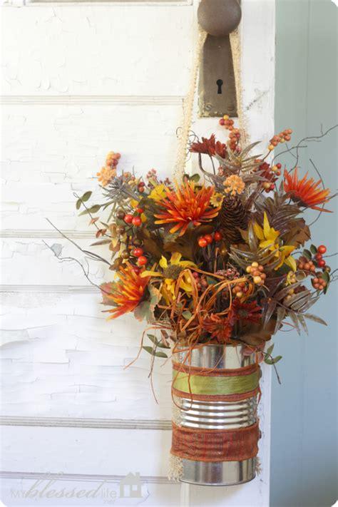 easy fall flower  door decor