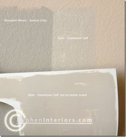 bm senora gray is a shade darker than behr sandstone cliff