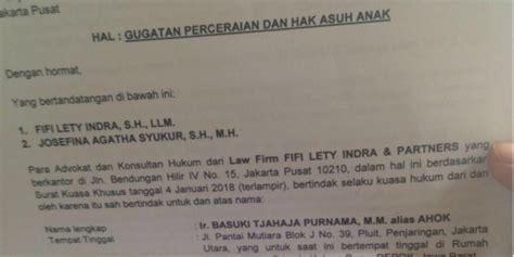 surat gugatan cerai ahok beredar ini kata pengacara