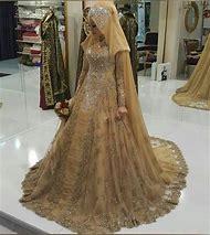 Vestido De Noiva Gold Lace Muslim Wedding Dr…