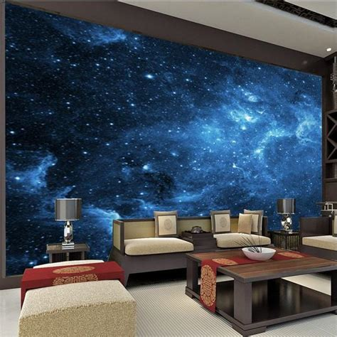 blue universe stars galaxy wallpaper  walls mural home