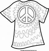 Clipart Dye Tie Coloring Pages Peace Shirt Printable Shirts Template Sign Clip Google English Celebrate Colors Printables Fun 70s Party sketch template