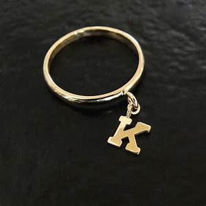 14k gold initial ring personalized letter dangle charm With letter k ring